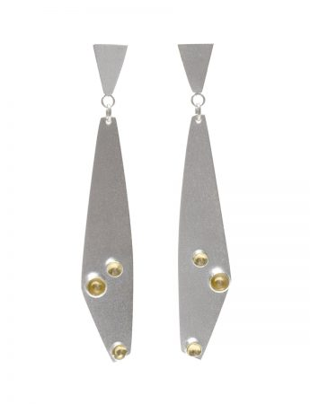 Long Drop Cup Earrings - Silver & Gold
