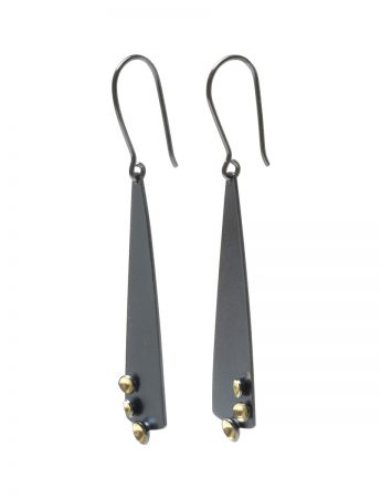 Long Cup Hook Earrings - Black & Gold