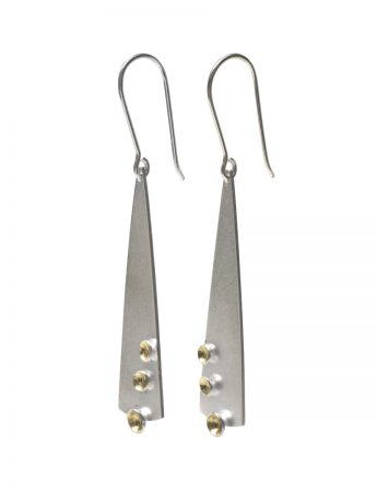 Long Clustered Cup Hook Earrings - Silver & Gold