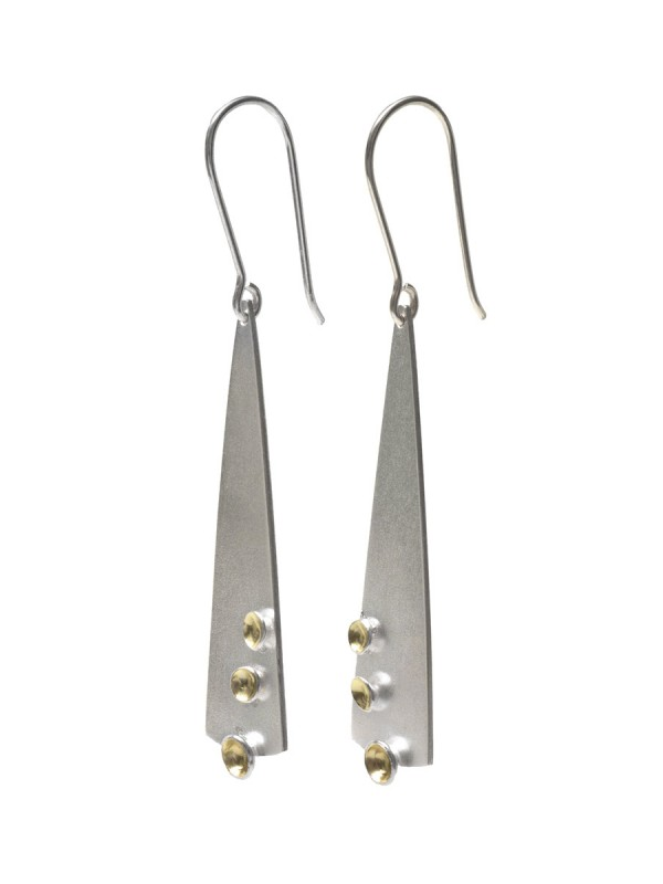 Long Clustered Cup Hook Earrings – Silver & Gold