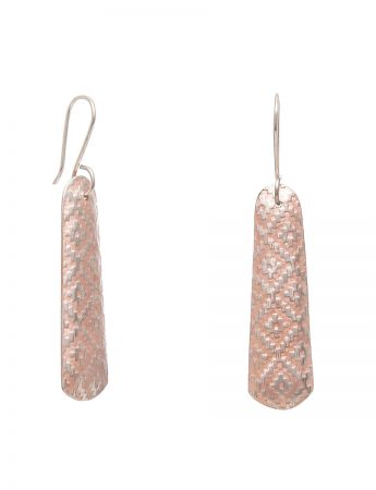 Long Rug Print Earrings - Rose Gold Plate