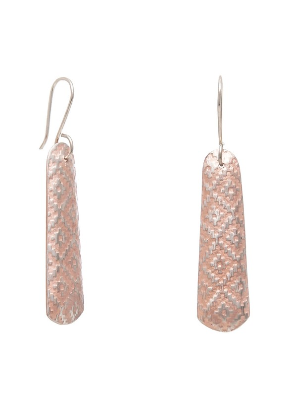 Long Rug Print Earrings – Rose Gold Plate