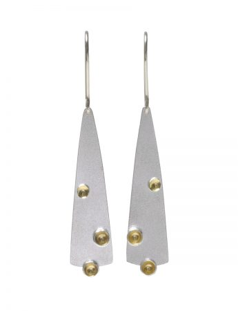 Long Three Cup Hook Earrings - Silver & Gold