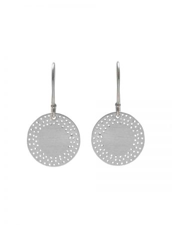 Medium Perforated Disc Earrings - Silver