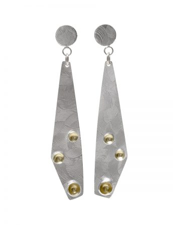 Medium Textured Drop Earrings - Silver & Gold