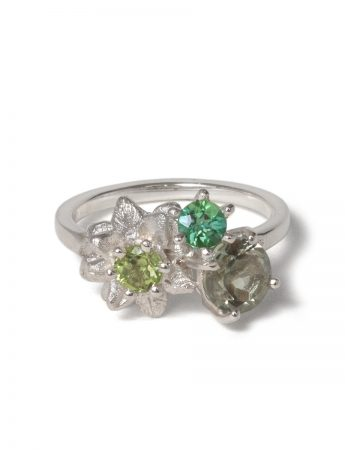 Floral Posy Ring - Moss Green