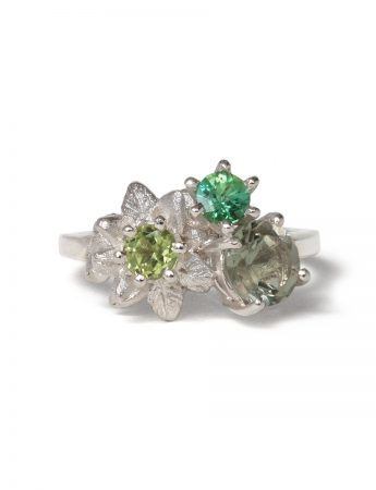Floral Posy Ring – Moss Green