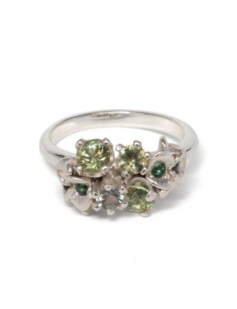Violet Duo Posy Ring - Moss Green