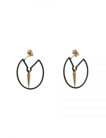 Pendulum Hoop Earrings - Black & Gold