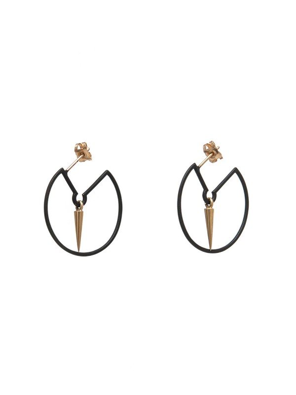 Pendulum Hoop Earrings – Black & Gold