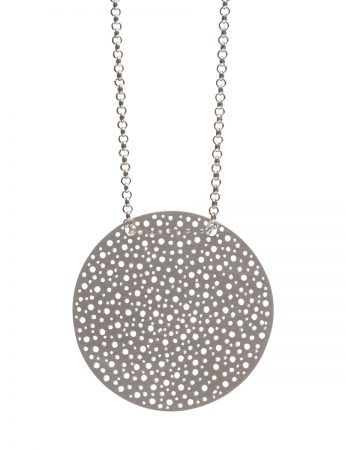 Perforated Disk Necklace - Silver Chain