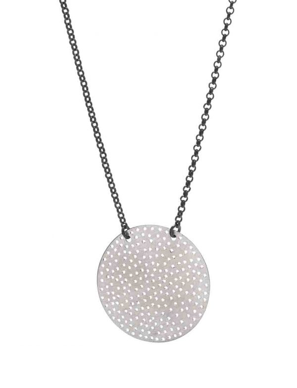 Perforated Disc Necklace – Black Chain