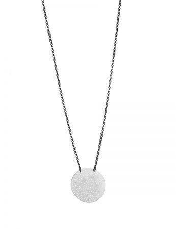 Perforated Disc Necklace - Black Chain