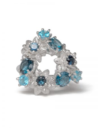 Floral Triptych Ring - Prussian Blue