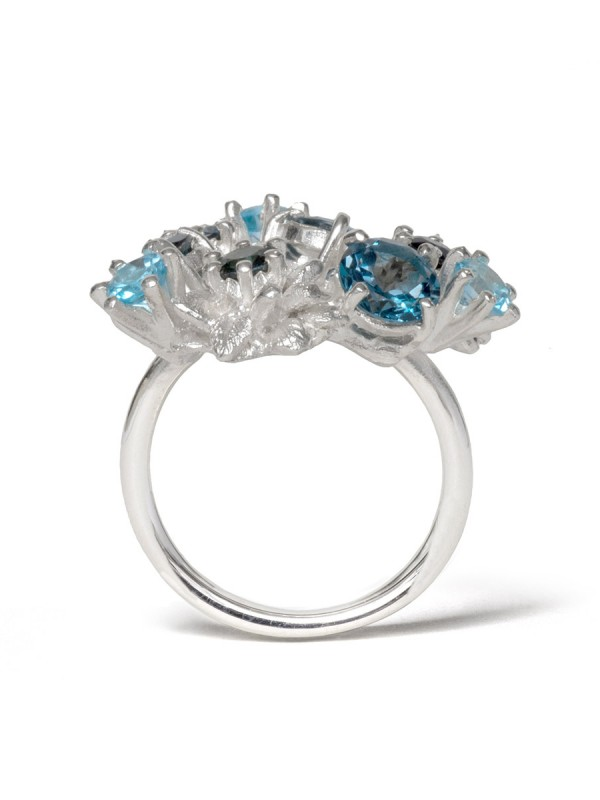 Floral Triptych Ring – Prussian Blue
