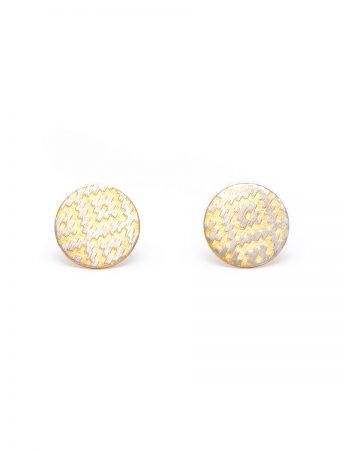 Rug Print Stud Earrings - Yellow Gold Plate