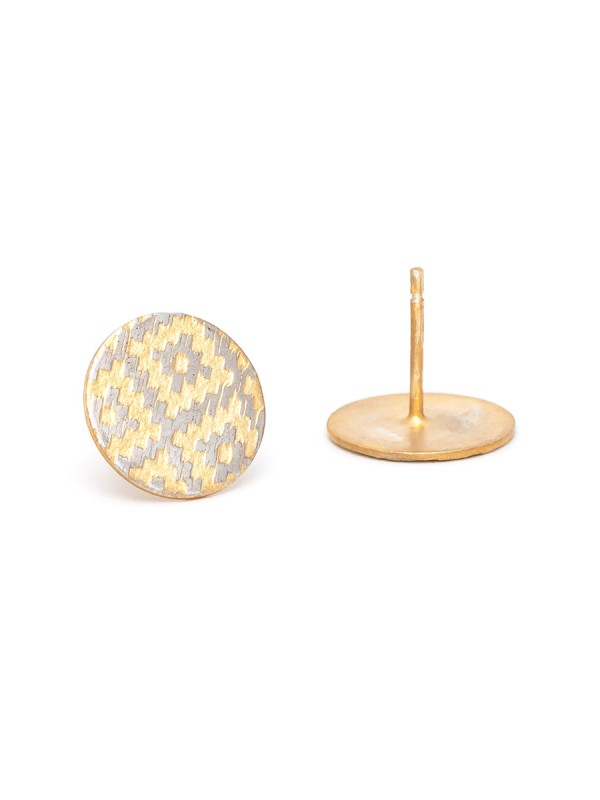 Rug Print Stud Earrings – Yellow Gold Plate