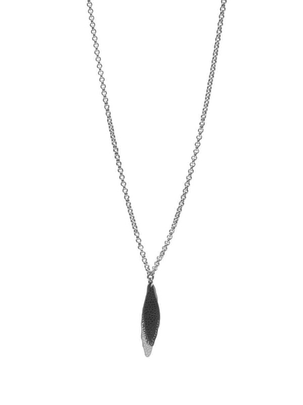 Shadow Leaf Neckpiece – Black & Silver