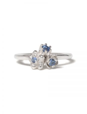 Small Forget Me Not Floral Posy Ring - Blue