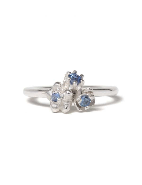 Small Forget Me Not Floral Posy Ring – Blue