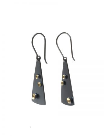 Triangle Three Cup Hook Earrings - Black & Gold