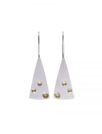 Triangle Three Cup Hook Earrings - Silver & Gold