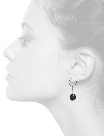 Black Circle X Long Hook Earrings