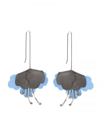 Folded flower Earrings – Blue