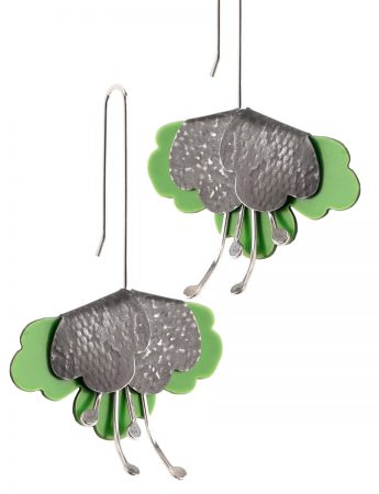 Folded flower Embossed Earrings – Green