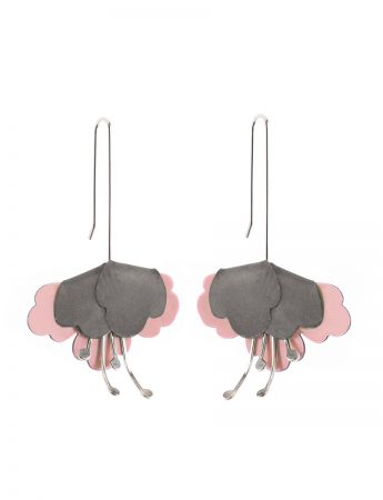 Folded flower Earrings – Pink