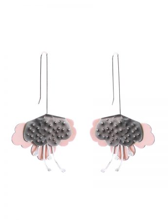 Folded flower Hammered Earrings – Pink