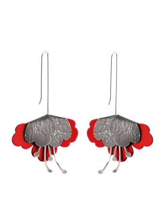 Folded flower Embossed Earrings – Red