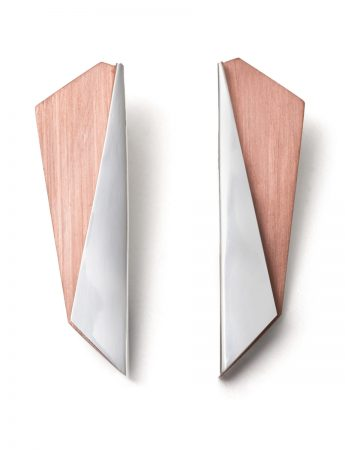 Rhombus Bi-Fold Earrings - Silver & Copper