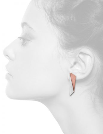 Rhombus Bi-Fold Earrings – Silver & Copper