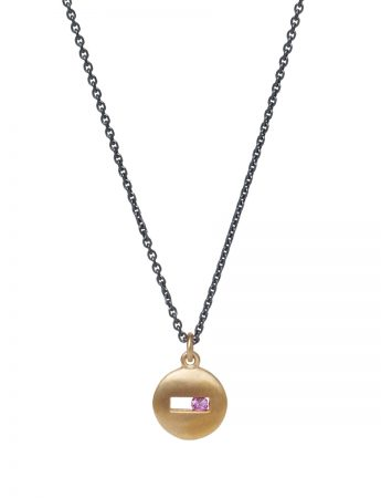 Rolling Rock Pink Sapphire Necklace - Matte Gold