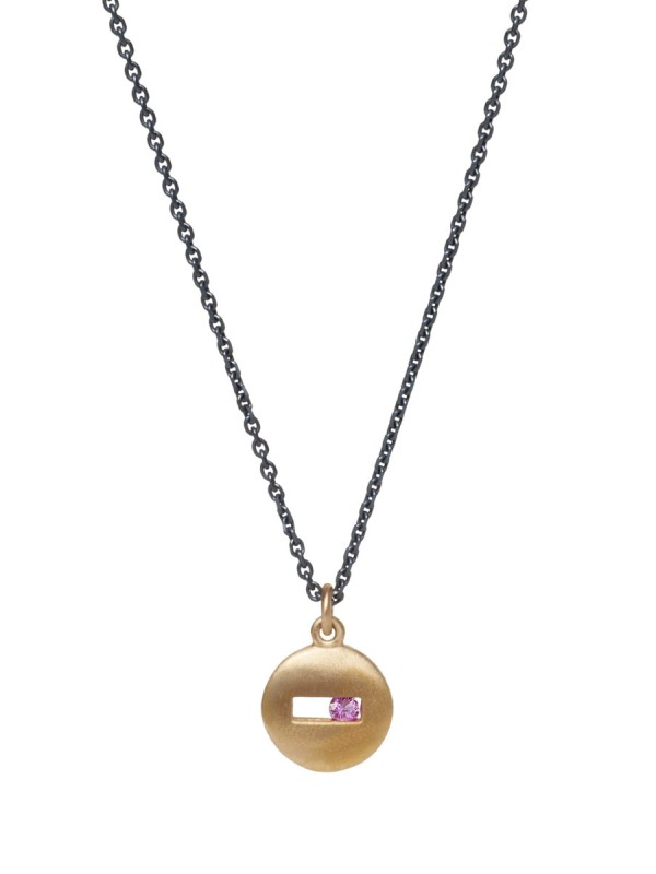 Rolling Rock Pink Sapphire Necklace – Matte Gold