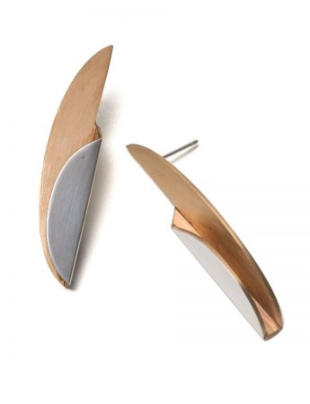 Semi-Circular Bi-Fold Earrings - Silver & Gold Plate