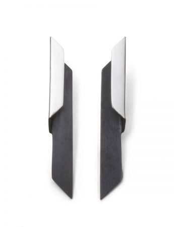 Shard Bi-Fold Earrings - Silver & Black