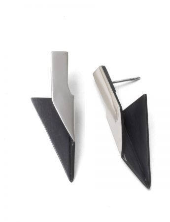 Triangular Bi-Fold Earrings - Silver & Black