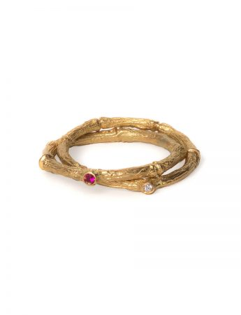 Arbres Troncs Ring - Ruby and Diamond
