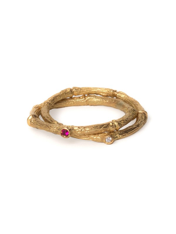 Arbres Troncs Ring – Ruby and Diamond