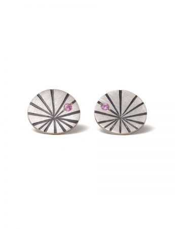 Large Fan Shell Stud Earrings - Sapphire