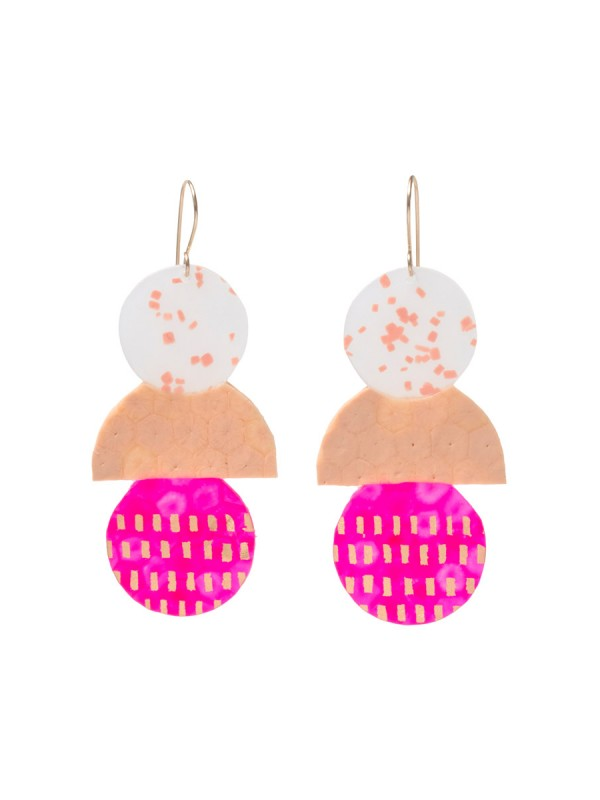 Large Peach & Hot Pink Triple Stack Earrings