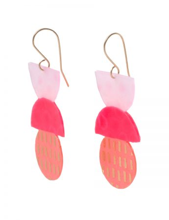 Large Clear Pink & Neon Red Triple Stack Earrings