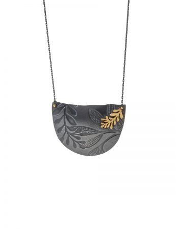 Leaf Imprint Necklace – Black & Gold