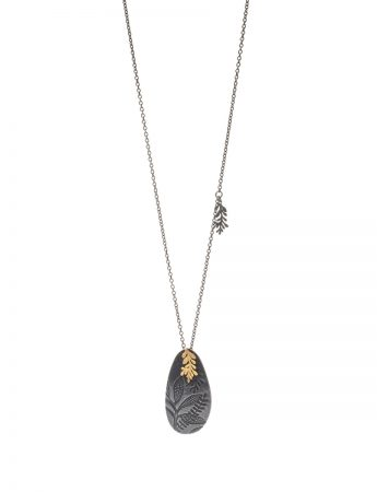 Leaf Imprint Necklace - Black & Gold