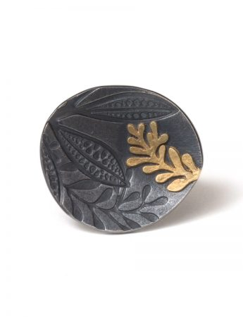 Leaf Imprint Ring - Black & Gold