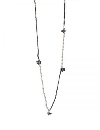 Long Pearl Flower Necklace – Black & White