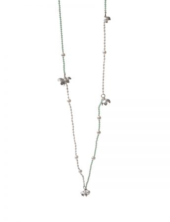 Long Flower Necklace - Mint