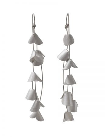 Long Jungle Cactus Earrings - Silver